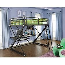 Black Bunk Bed With Desk Powell Z Desk Metal Loft Bunk Bed Black Walmart