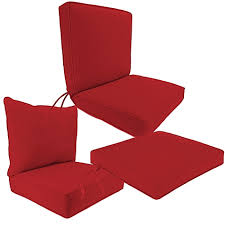 outdoor seat cushion collection in sunbrella canvas jockey red