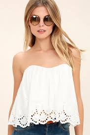 strapless blouse boho white top strapless top crop top eyelet top 46 00