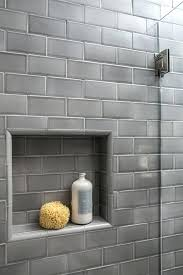 Niche Bathroom Shower Grey Subway Tile Shower Niche White Subway Tile With Charcoal Grey