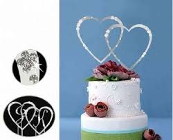 heart cake topper monogram silver rhinestone hearts wedding cake topper with