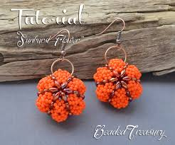 sunburst flower beading pattern beaded earrings tutorial