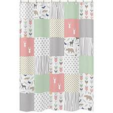 Baby Bathroom Shower Curtains by Amazon Com Sweet Jojo Designs Coral Mint And Grey Woodsy Animal