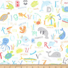 timeless treasures abc u0027s sea sea animal alphabet white