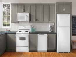 Modern Kitchen With White Appliances Grey Kitchen Cabinets And White Appliances U2013 Quicua Com