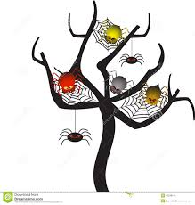 spooky spider webs tree tree vector stock illustration image