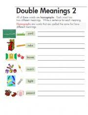 english teaching worksheets homographs