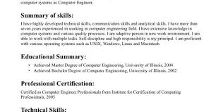 Sample Resume For Computer Engineer by Computer Engineering Resume Sample Computer Engineering Resumes