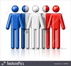 Flag Of Franc Flag Of France On Stick Figure Illustration