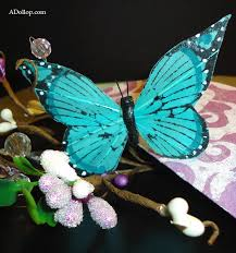 elegant custom purple and blue butterfly boxed wedding invitation