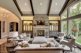 Living Room Ceiling Beams Built In Cabinet Ideas For Family Room Living Room Transitional
