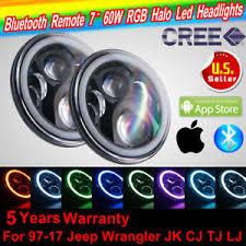 ring light effect app 2pc cree rgb halo ring 7 inch bluetooth app led headlights jeep