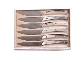 handcrafted cow horn steak knives set 6 omero home