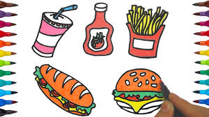 draw color fast food how to draw and color fast food for kids