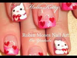 valentine u0027s day hello kitty nail art design pink and red heart