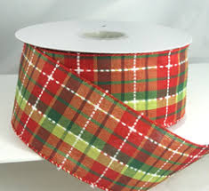 christmas wired ribbon christmas ribbon plaid checked striped