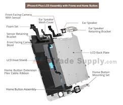 apple iphone 6 plus lcd assembly with frame and home button black