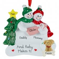 family of 3 with dog christmas ornaments u0026 gifts personalized