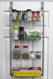 kitchen cabinet door storage racks home basics heavy duty 4 tier the door storage shelf hanging cabinet metal pantry rack organizer spice space grey