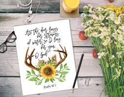 deer bible verses print watercolor antler print christian wall art