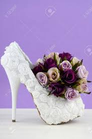 Shabby Chic Purple by Wedding Theme White Floral Bridal Shoes With Flowers On Shabby