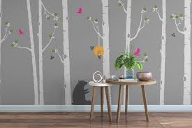Wall Stickers Trees Cute Bear And Bumblebee Birch Tree Wall Stickers Tree Wall