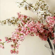 Peach Flowers Aliexpress Com Buy Small Sakura White Pink Silk Cherry Blossom 3