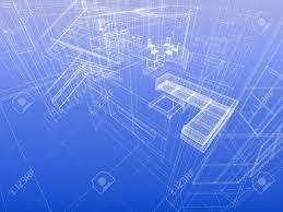 house concept wireframe interior of a house blueprint style