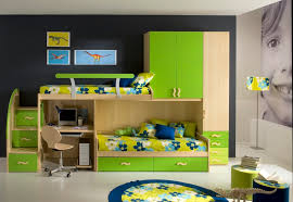 small kids bedroom with small study table space and cute cabinets
