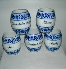 5 antique flow blue canister set blue onion germany canister