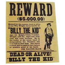 amazon com billy the kid wanted dead or alive gun outlaw poster