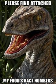 Meme Generator Velociraptor - please find attached my food s race numbers hungry velociraptor