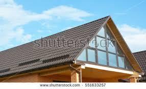 attic skylight window wall building modern stock photo 551633257