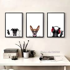 triptych canvas art pet dogs prints nursery baby bedroom animated