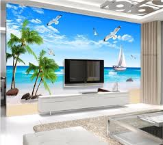 compare prices on beach wall paper online shopping buy low price 3d wallpaper custom mural photo sailboat beach seagull coconut trees room painting 3d wall murals wall