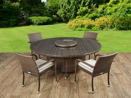 brown rattan 4 roma with large round table set free lazy susan