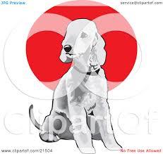 bedlington terrier guard dog clipart illustration of a seated gray bedlington terrier dog