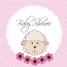 pink baby shower card with sheep vector illustration royalty free