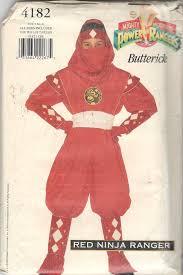 sewing pattern ninja costume butterick 4182 boys girls teen red ninja power ranger costume
