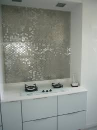 Funky Metallic Mirrored Tile Kitchen Backsplash And White Kitchen - Mirrored backsplash