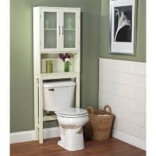 high white above the toilet bathroom cabinets on green wall color