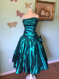 vintage dress 80s ruffle strapless party bow metallic blue b32 s