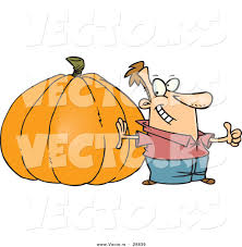 vectorof fall halloween background clip art free vector of a pround cartoon man standing beside a giant uncarved