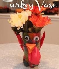thanksgiving craft for kids turkey vase centerpiece