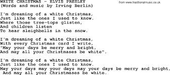 white christmas by elvis presley lyrics