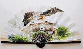extra large feather fans wall fans painted5511 jpg