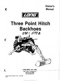 long three point hitch backhoes owners manual tractor loader
