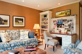 Hot Trend  Vibrant Home Offices With Bold Orange Brilliance - Home office in living room design