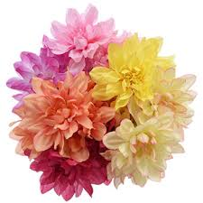 artificial flower bulk 5 stem floral garden summer dahlia bushes 12 in at