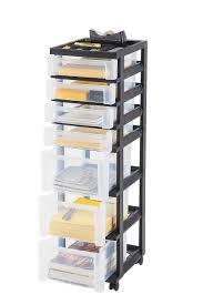 Plastic Storage Cabinet Iris 7 Drawer Rolling Storage Cart Black Walmart Com
